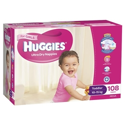 Huggies Toddler Girl Nappies 10 15 Kg Bulk 108 At
